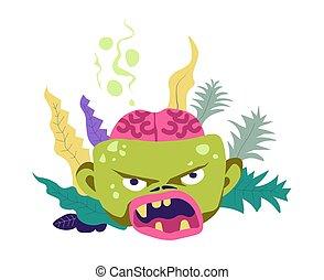 zombie, lig, hos, brudt, kranium, viser, hjerne, vektor