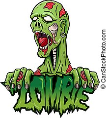 zombie, logo, projektować, rysunek, maskotka