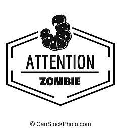 Zombie logo, simple black style