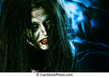 zombie look - Close-up of a bloodthirsty zombi over black...