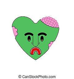 Zombie love green heart. Dead amour Vector illustration
