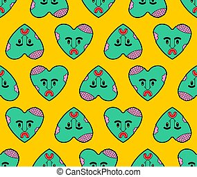 Zombie love pattern seamless. green heart background. Dead amour Vector texture