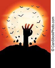 zombie, mão, fundo, 0910