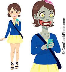 zombie, m�dchen, smartphone