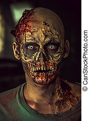 zombie man - Close-up portrait of a horrible scary zombie...