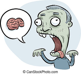 Zombie Man Wanting Brains - A cartoon zombie man asking for...