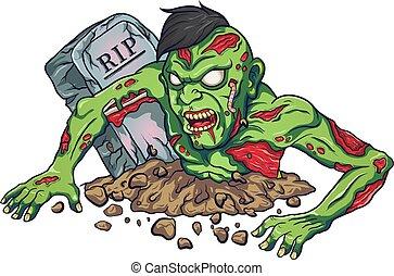 zombie, maskotka, projektować, straszny, rysunek