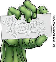 Zombie Monster Hand Holding Happy Halloween Sign