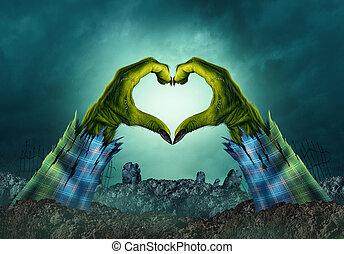 zombie, monstro, mão, coração, fundo