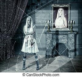 zombie, mulher, jovem, faca, sangue