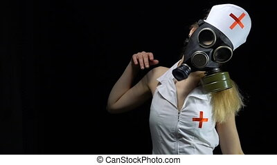 Zombie nurse girl in gas mask - Footage of sexual young...