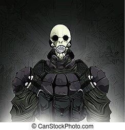 Zombie guerriero vettore illustrazione. zombie guerriero