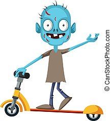 Zombie on scooter, illustration, vector on white background.