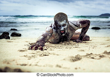 zombie on the beach - young man with a zombie body painting,...