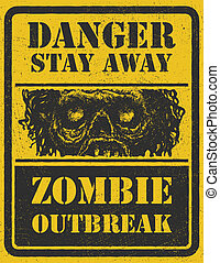 Zombie Outbreak. Hand drawn. Vector Eps8 - Poster Zombie ...
