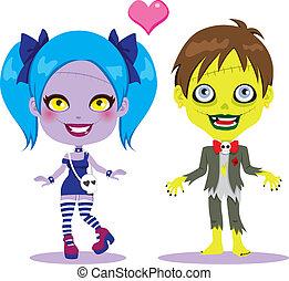 zombie, par, amor