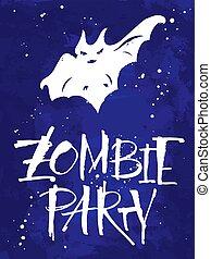 zombie, parti, halloween, kort