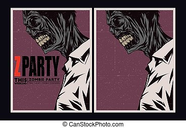 Zombie party invitation. - Halloween Poster. Zombie party ...