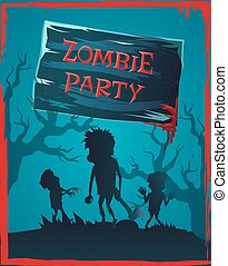 Zombie Party Invitation Vector Illustration