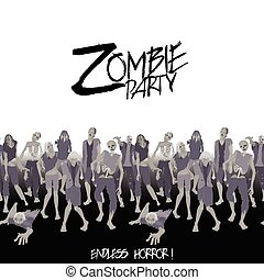 Zombie party. Zombie crowd walking forward. Halloween endless border
