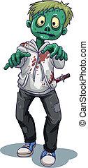 zombie, pauroso, maschio