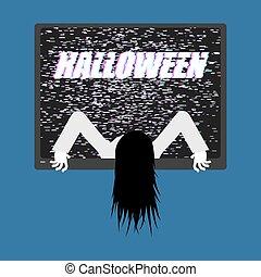 zombie, pige, af, tv., zombie, kommer, ydre, i, televisor.,...
