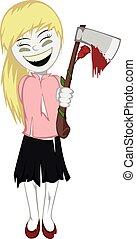 zombie, pige, hos, forbavselse