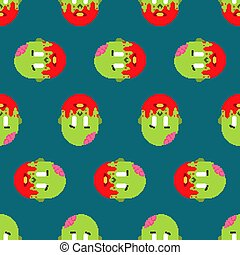 Zombie pixel art pattern seamless. zombies head and brain background