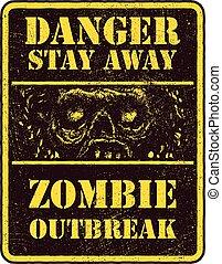 zombie, plakat, outbreak.