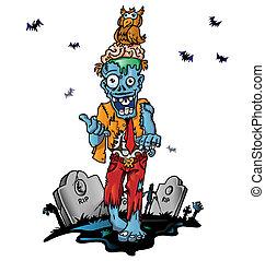 zombie, pomylony, rysunek