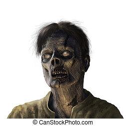 zombie, portret, biały, -