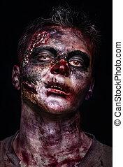 zombie, portret, straszliwy