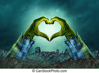 zombie, potwór, ręka, serce, tło