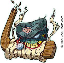 Zombie Puck Biting Hockey Stick - Vector cartoon clip art of...