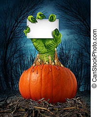 Zombie Pumpkin Sign - Zombie pumpkin sign with a green hand...