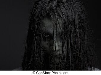 zombie, ragazza, espressione, orrore