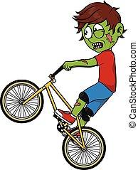 zombie, ragazzo, gioco, bmx
