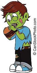 zombie, ragazzo, mangiare, hamburger