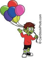 zombie, ragazzo, presa a terra, balloon