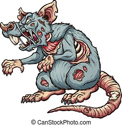 Zombie rat - Menacing zombie rat. Vector clip art...