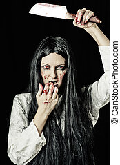 zombie, retrato, mulher