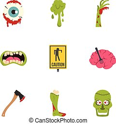 Zombie rip icon set, flat style