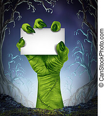 Zombie Rising Sign - Zombie rising hand holding a blank sign...
