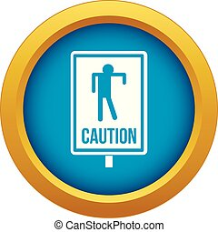 Zombie road sign icon blue vector isolated