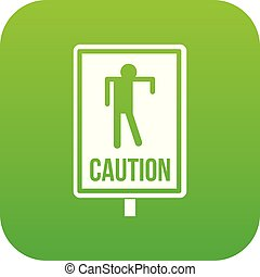 Zombie road sign icon digital green