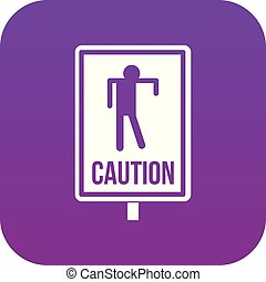 Zombie road sign icon digital purple
