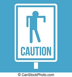 Zombie road sign icon white