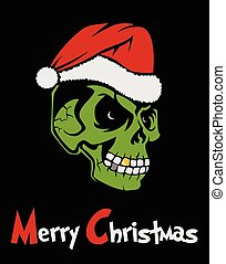 Zombie Santa Claus wishing Merry Christmas. Christmas Grinch...