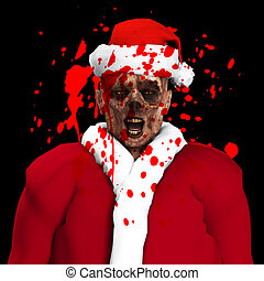Zombie Santa With Blood - A Zombie father Christmas covered...