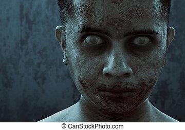 zombie, schrikaanjagend, thema, man, halloween